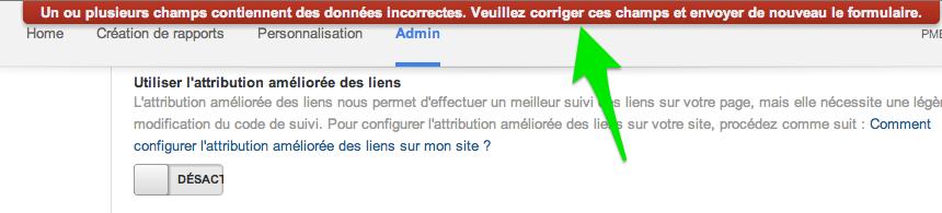 Bug Google Analytics