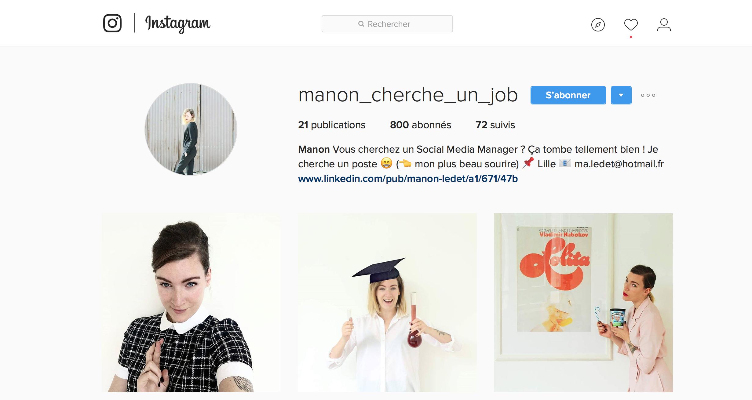 pour trouver un job  ils ont cr u00e9 u00e9 leur cv sur    instagram