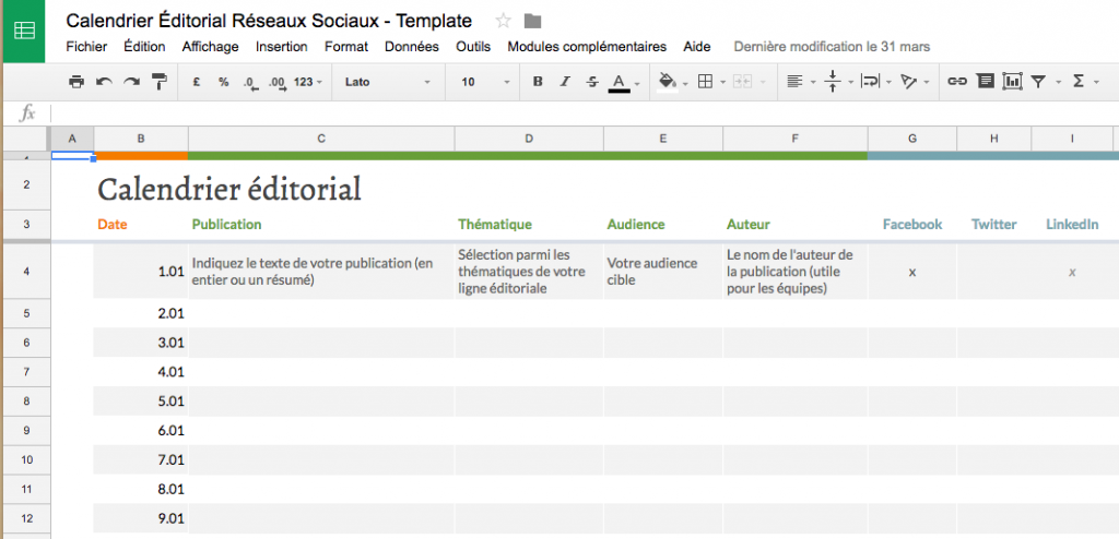 Calendrier éditorial Google Sheets