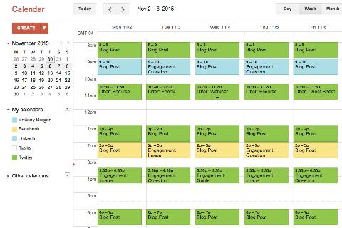 Google Calendar - Calendrier éditorial