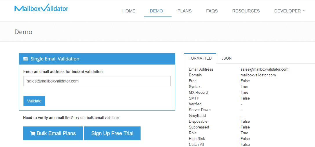 Mailbox validator