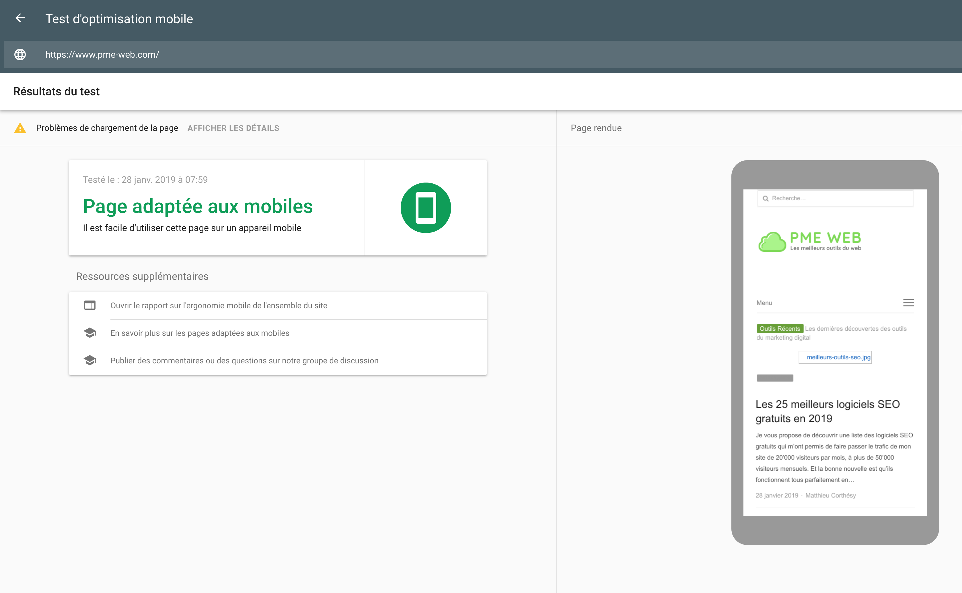 Test d'optimisation mobile Google